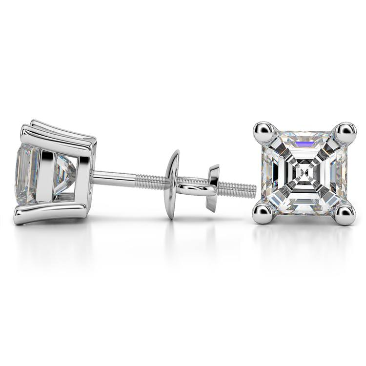 Asscher Diamond Stud Earrings in White Gold (4 ctw) | 03