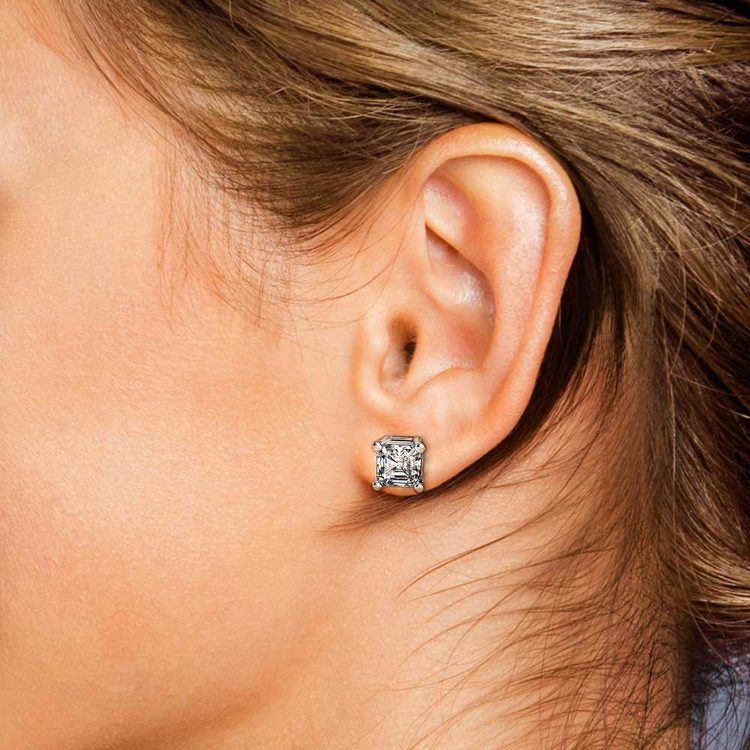 4 Carat Asscher Cut Diamond Stud Earrings In White Gold | 04