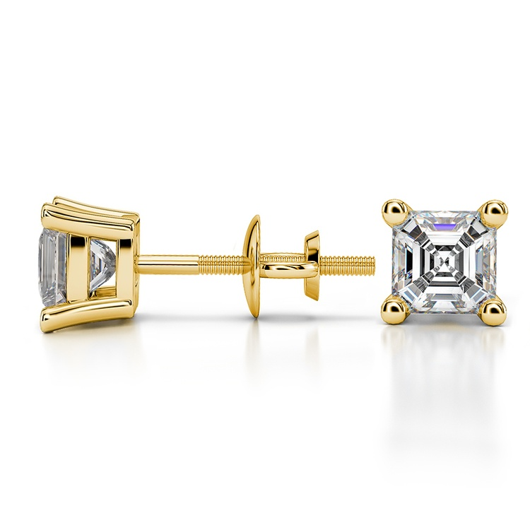 Asscher Diamond Stud Earrings in Yellow Gold (1 ctw) | 03