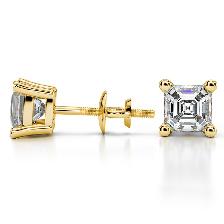 Asscher Diamond Stud Earrings in Yellow Gold (2 ctw) | 03