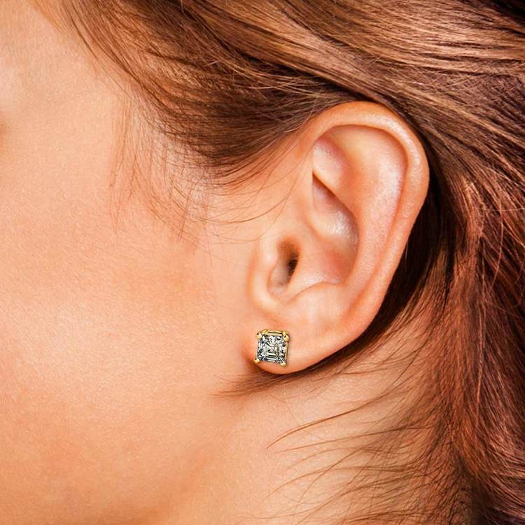 Two Carat Asscher Cut Diamond Earrings In Yellow Gold | 04