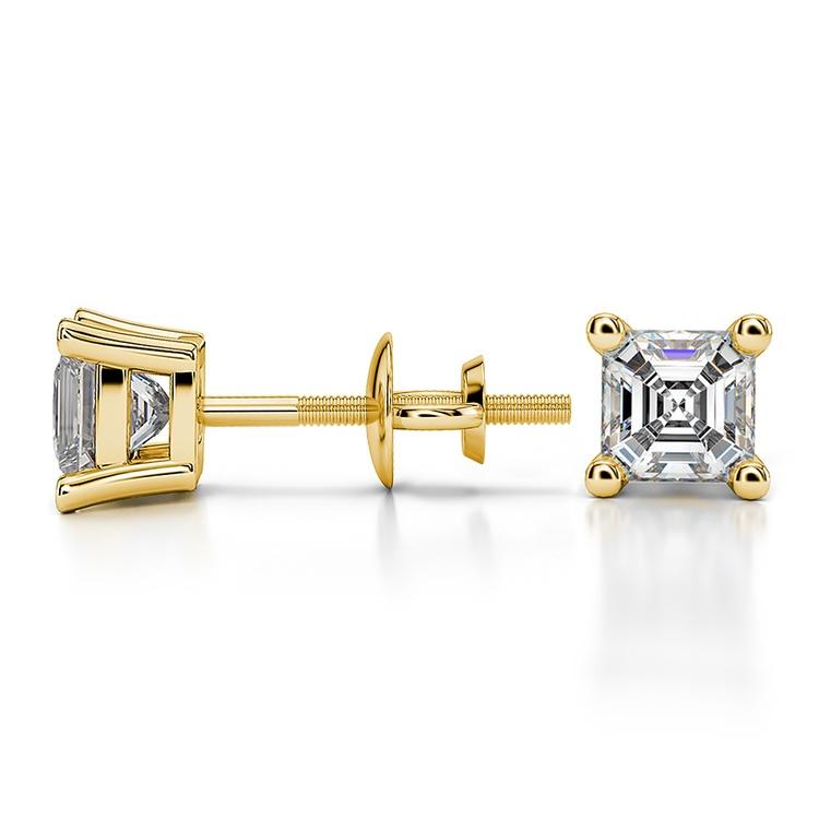 Asscher Diamond Stud Earrings in Yellow Gold (3/4 ctw) | 03