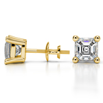 Asscher Diamond Stud Earrings in Yellow Gold (3 ctw) | Thumbnail 01