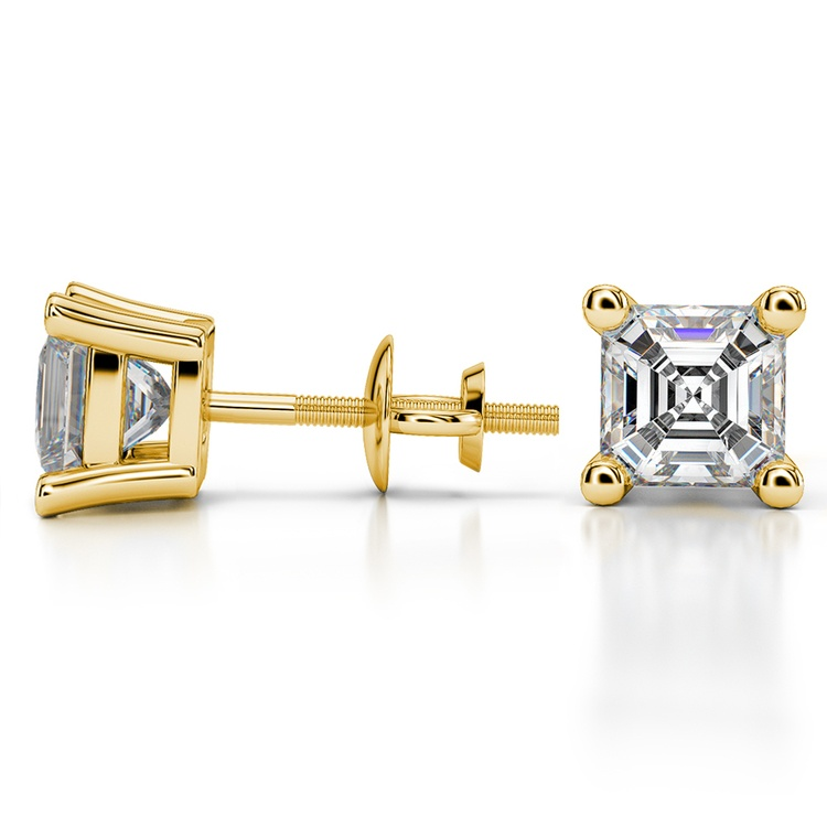 Asscher Diamond Stud Earrings in Yellow Gold (3 ctw) | 03