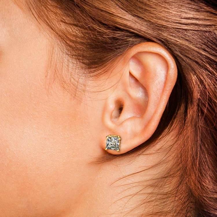 Three Carat Asscher Cut Diamond Earrings In Yellow Gold   04