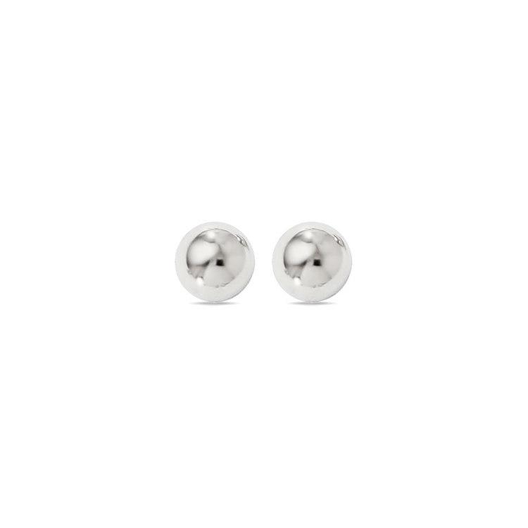Ball Stud Earrings in White Gold (6 mm) | 01