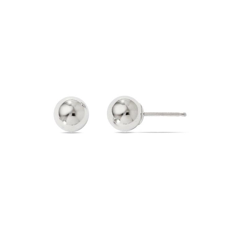 Ball Stud Earrings in White Gold (6 mm) | 02