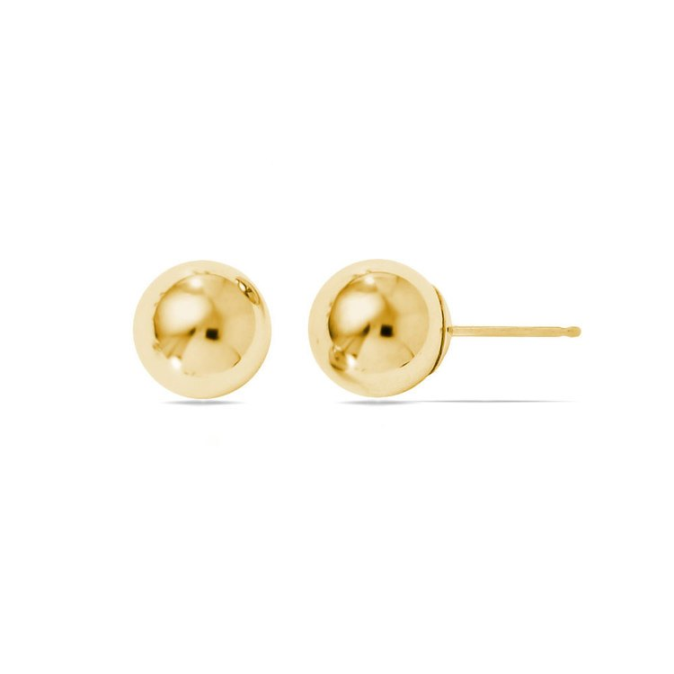 Ball Stud Earrings in Yellow Gold (8 mm) | 02