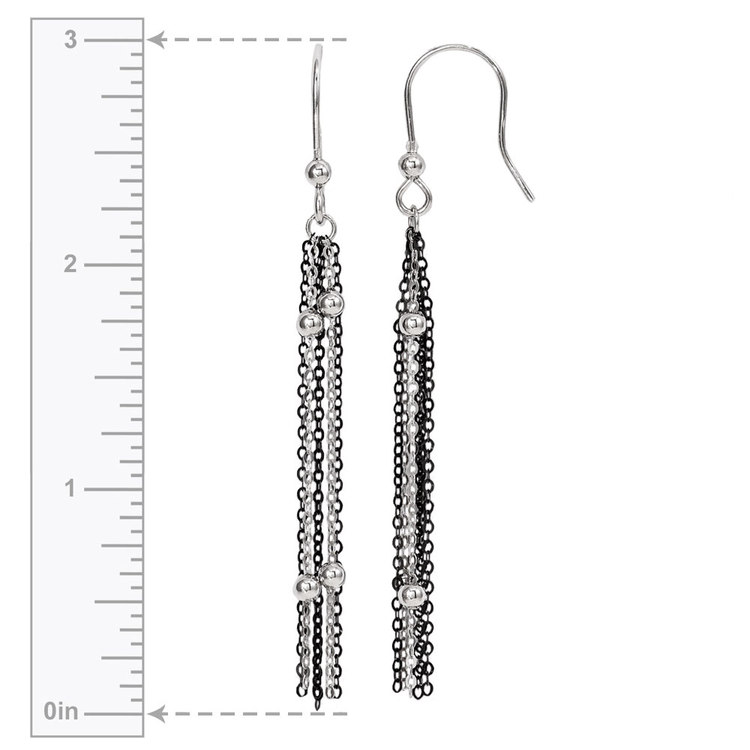 Beaded Chain Dangle Earrings with Blackened Finish in Silver | 03