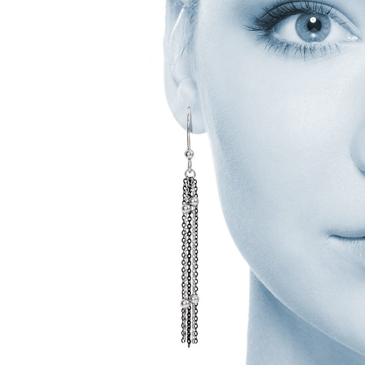 Beaded Chain Dangle Earrings with Blackened Finish in Silver | 04