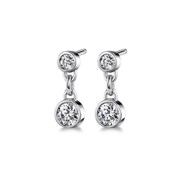 Bezel Diamond Link Earrings in White Gold (1 ctw) | 01