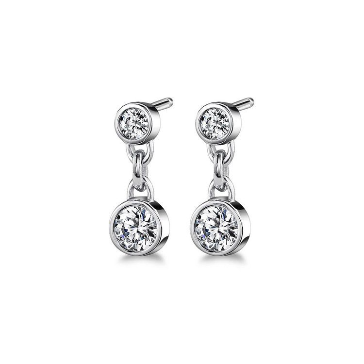 Bezel Diamond Link Earrings in White Gold (1/3 ctw) | 01