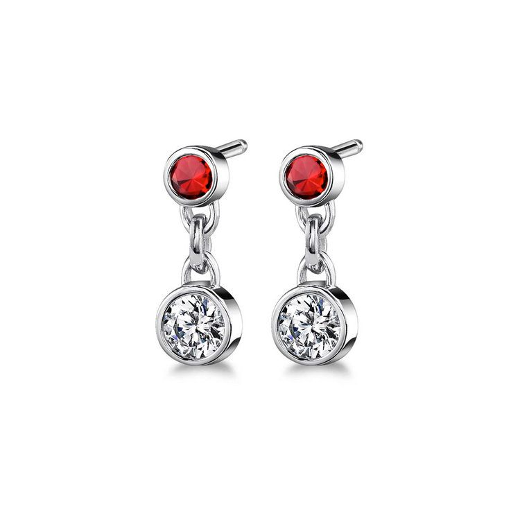 Bezel Diamond & Ruby Link Earrings in White Gold | 01
