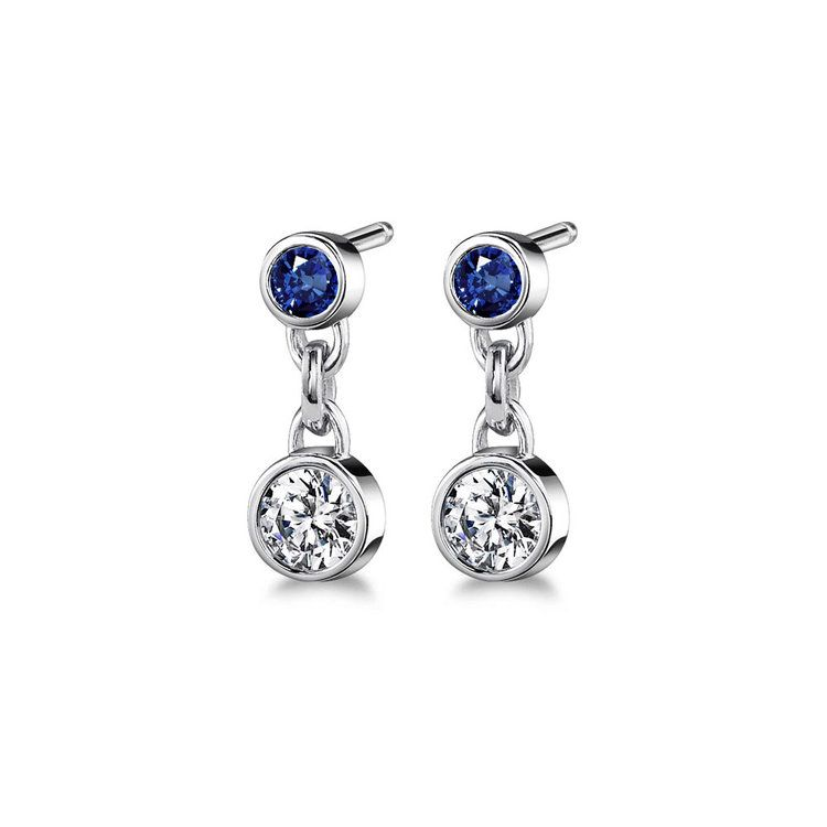 Bezel Diamond & Sapphire Link Earrings in White Gold | 01