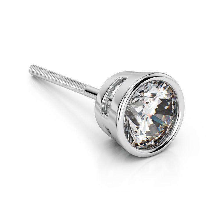 Bezel Diamond Single Stud Earrings In 14K White Gold (1/2 Ctw) | 01