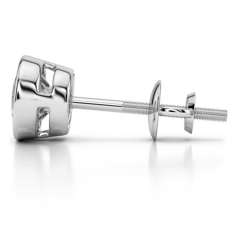 Bezel Diamond Single Stud Earrings In 14K White Gold (1/2 Ctw) | 03