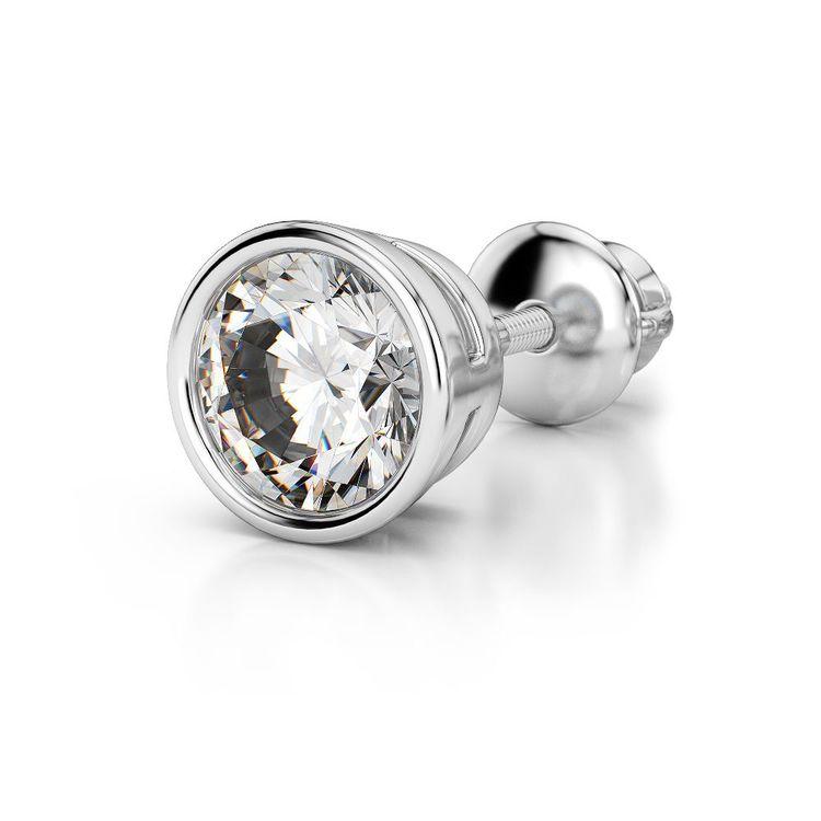 Bezel Diamond Single Stud Earrings In 14K White Gold (1/2 Ctw) | 04