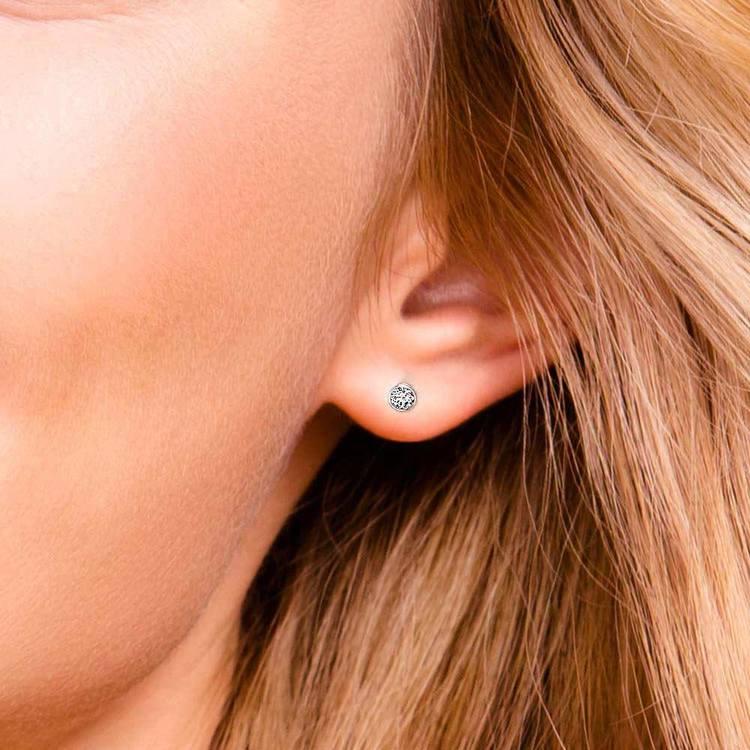 Bezel Diamond Single Stud Earrings In 14K White Gold (1/4 Ctw) | 05