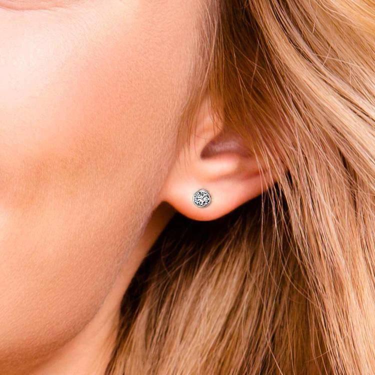 Bezel Diamond Single Stud Earrings In 14K White Gold (1 Ctw) | 05