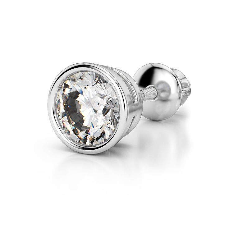 Bezel Diamond Single Stud Earrings In 14K White Gold (3/4 Ctw) | 04