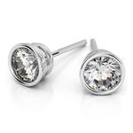 Bezel Diamond Stud Earrings in Platinum (1 ctw) | Thumbnail 01