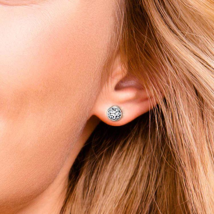 Bezel Diamond Stud Earrings in Platinum (2 ctw)   04