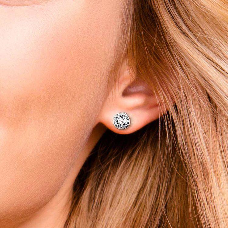 Bezel Diamond Stud Earrings in Platinum (3 ctw) | 04