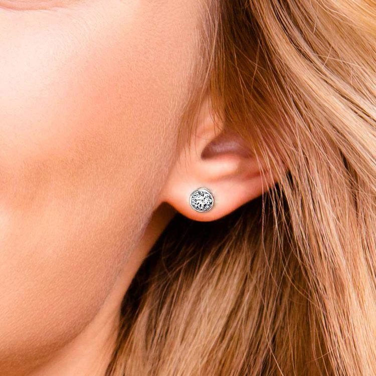 Bezel Diamond Stud Earrings in 14K White Gold (1 1/2 ctw) | 04