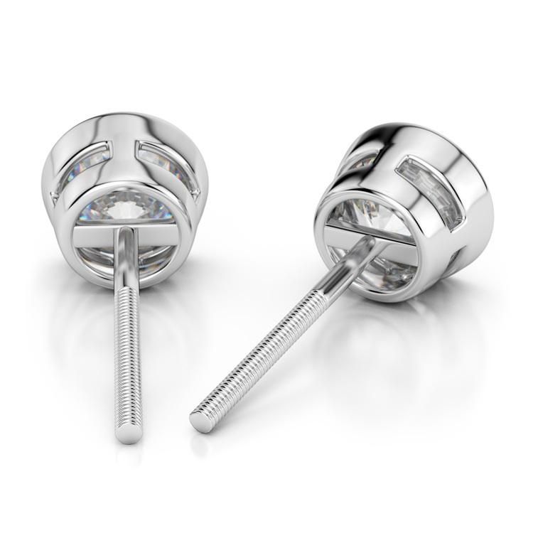Bezel Diamond Stud Earrings in 14K White Gold (1 1/2 ctw) | 02