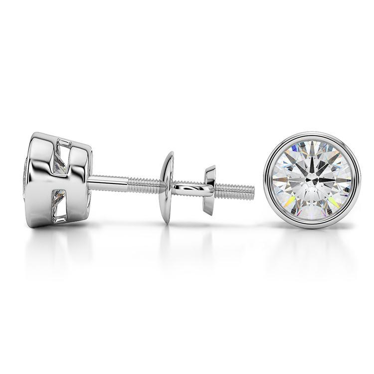 Bezel Diamond Stud Earrings in 14K White Gold (1 1/2 ctw) | 03