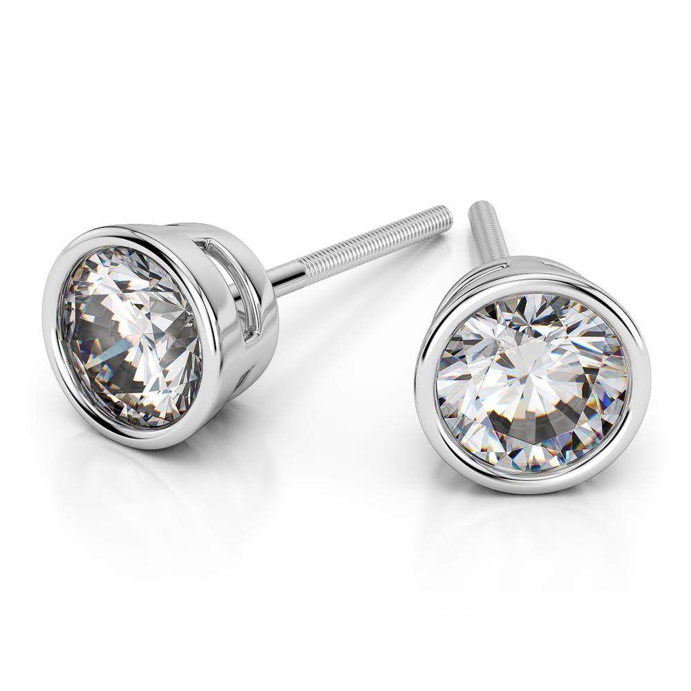 Bezel Diamond Stud Earrings In 14k White Gold 1 2 Ctw