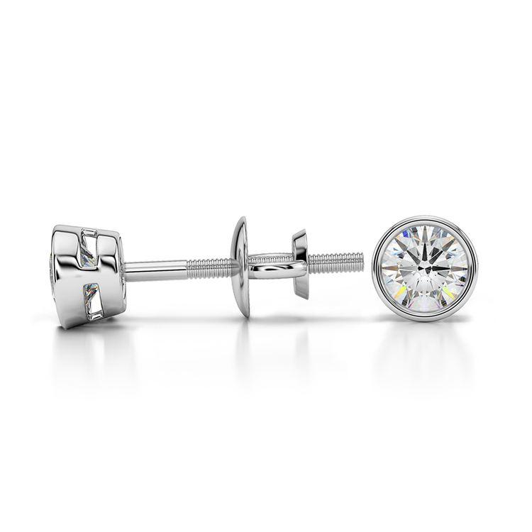 Bezel Diamond Stud Earrings in 14K White Gold (1/3 ctw) | 03