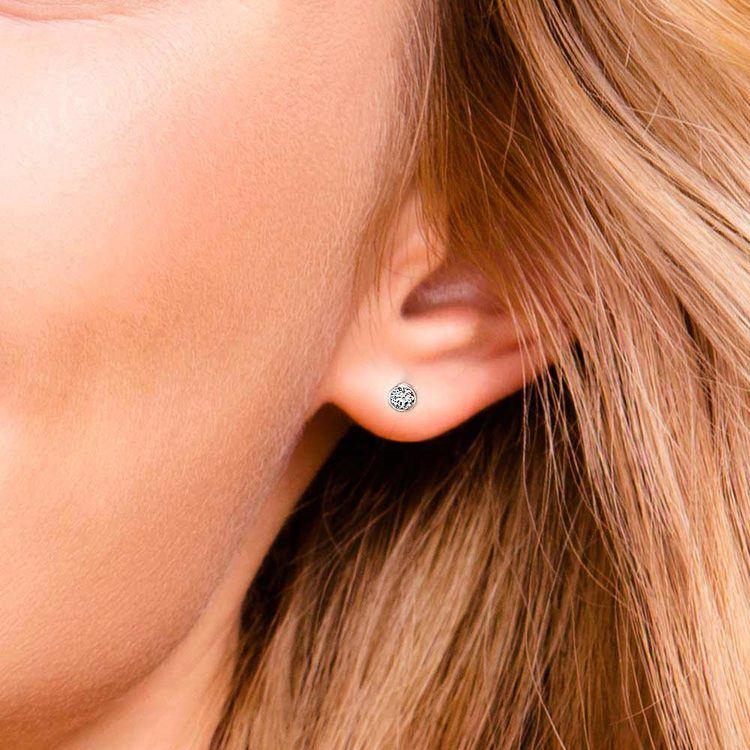 Bezel Diamond Stud Earrings in 14K White Gold (1/4 ctw) | 04