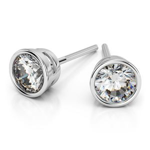 Bezel Diamond Stud Earrings in 14K White Gold (1 ctw)