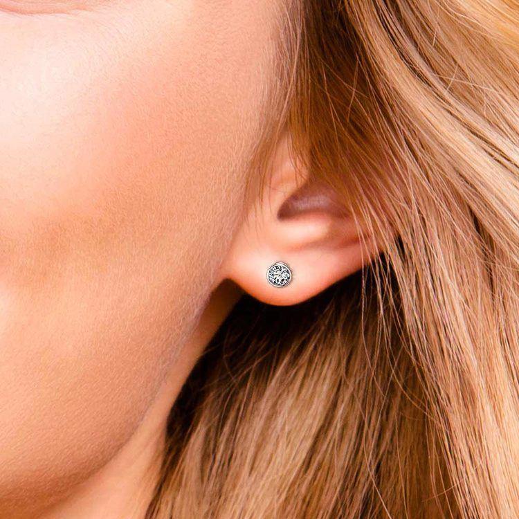 Bezel Diamond Stud Earrings in 14K White Gold (1 ctw) | 04
