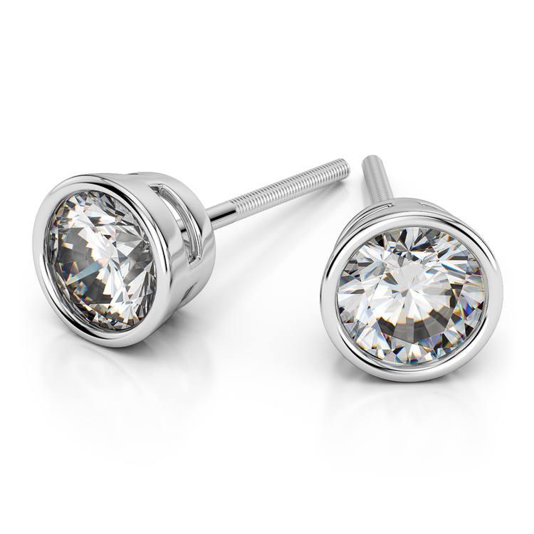 Bezel Diamond Stud Earrings in 14K White Gold (1 ctw) | 01