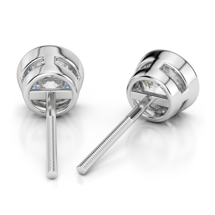 Bezel Diamond Stud Earrings in 14K White Gold (1 ctw) | 02