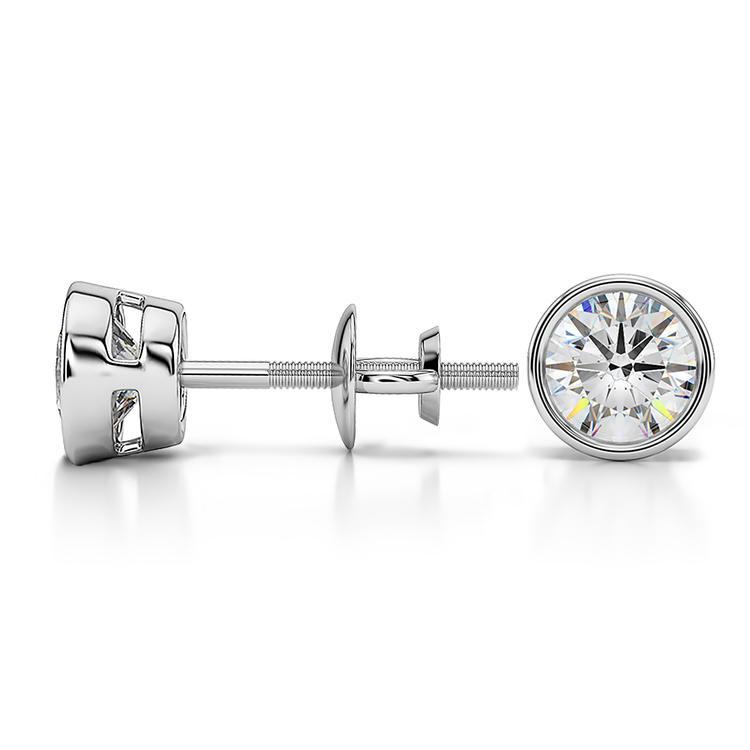 Bezel Diamond Stud Earrings in 14K White Gold (1 ctw) | 03