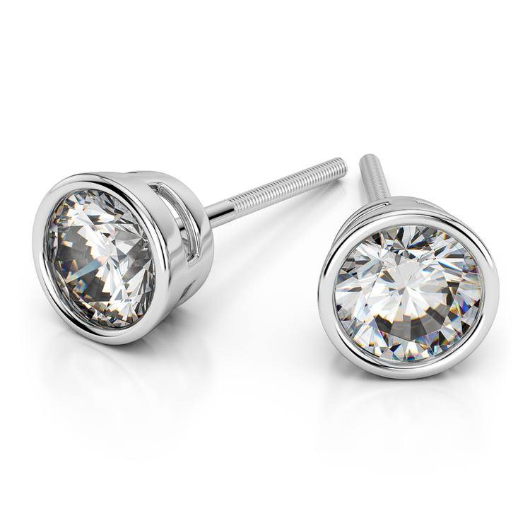 Bezel Diamond Stud Earrings in 14K White Gold (2 ctw) | 01