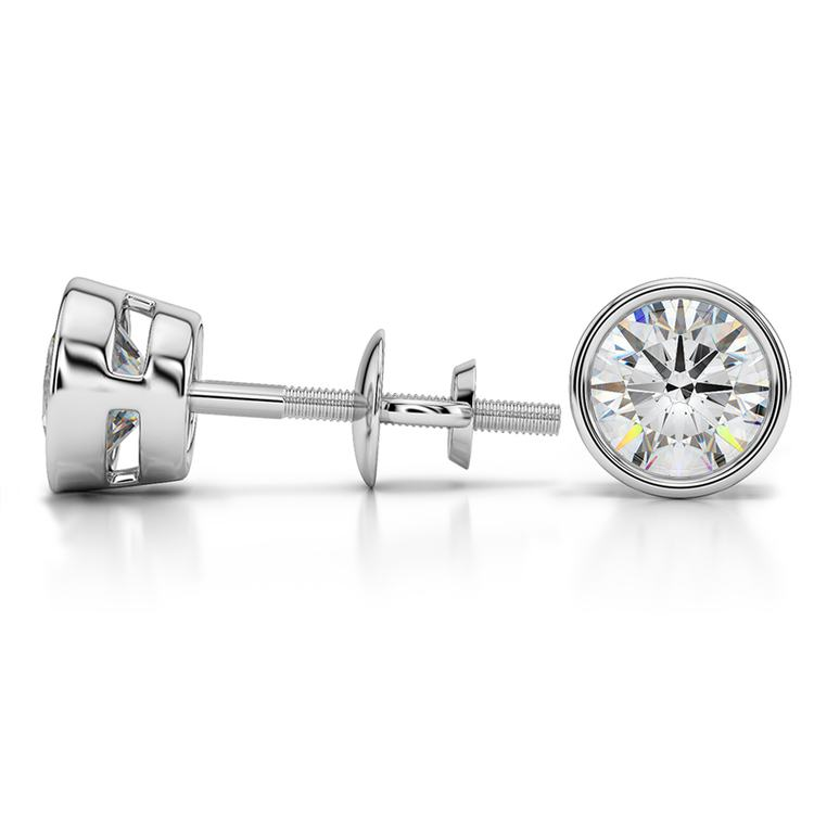 Bezel Diamond Stud Earrings in 14K White Gold (2 ctw) | 03
