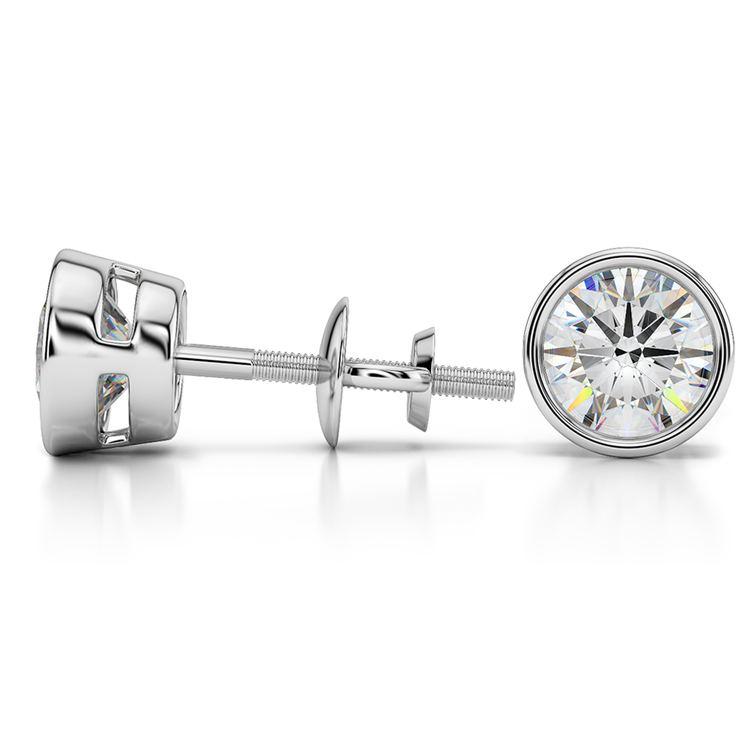 Bezel Diamond Stud Earrings in 14K White Gold (3 ctw) | 03