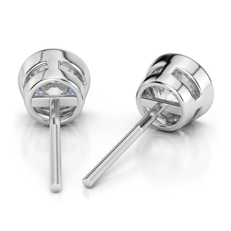 Bezel Diamond Stud Earrings in 14K White Gold (4 ctw) | 02