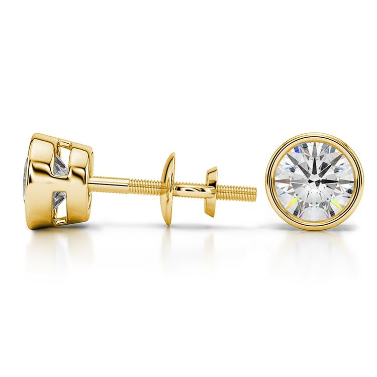 Bezel Diamond Stud Earrings in 14K Yellow Gold (1 1/2 ctw) | 03