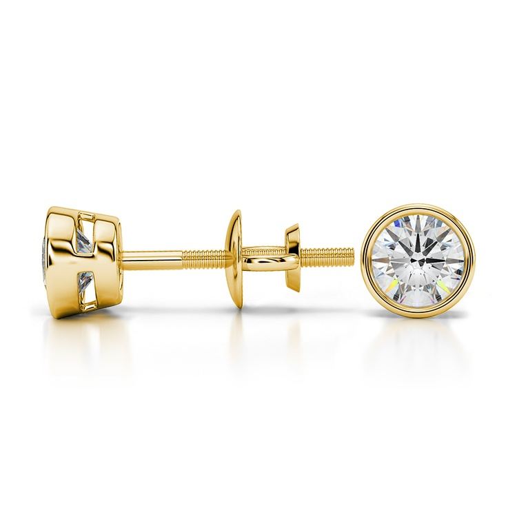 Bezel Diamond Stud Earrings in 14K Yellow Gold (1/2 ctw) | 03