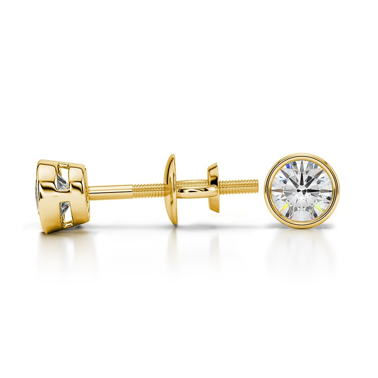 Bezel Diamond Stud Earrings in 14K Yellow Gold (1/3 ctw) | 03