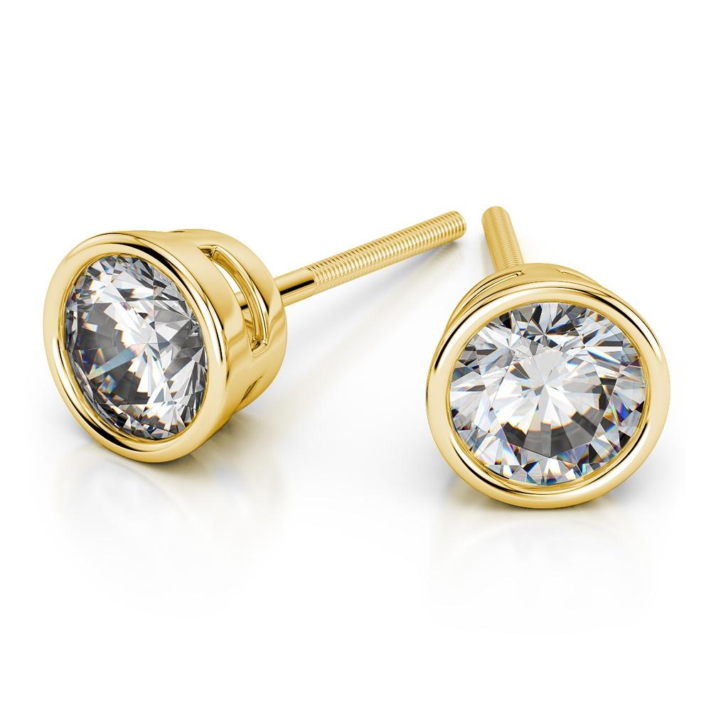 Bezel Diamond Stud Earrings In 14k Yellow Gold 1 4 Ctw