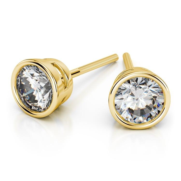 Bezel Diamond Stud Earrings In 14k Yellow Gold 1 Ctw