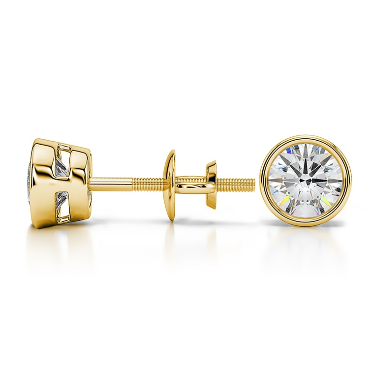 Bezel Diamond Stud Earrings in 14K Yellow Gold (1 ctw) | 03