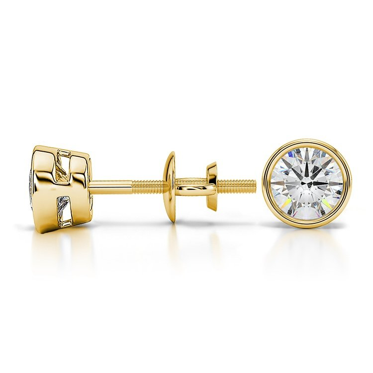 Bezel Diamond Stud Earrings in 14K Yellow Gold (3/4 ctw) | 03