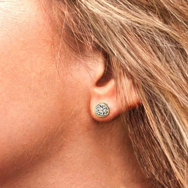 Bezel Diamond Stud Earrings in 14K Yellow Gold (3 ctw) | 04